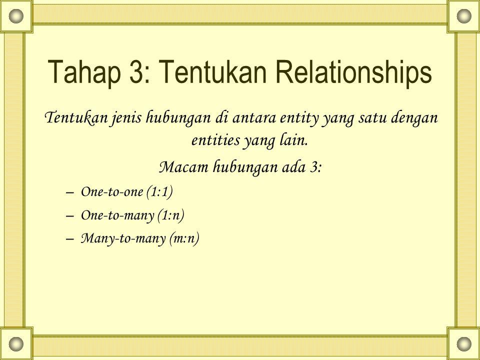 Tahap 3: Tentukan Relationships Tentukan jenis hubungan di antara entity yang satu dengan entities yang lain. Macam hubungan ada 3: –One-to-one (1:1)