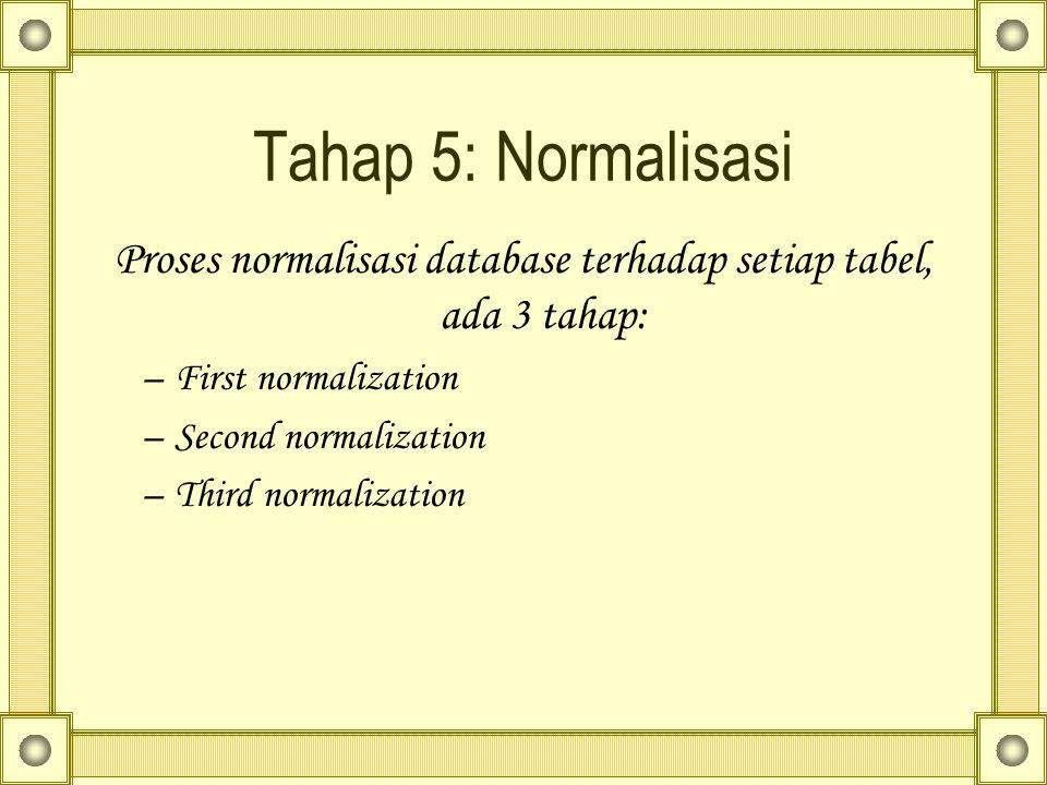 Tahap 5: Normalisasi Proses normalisasi database terhadap setiap tabel, ada 3 tahap: –First normalization –Second normalization –Third normalization