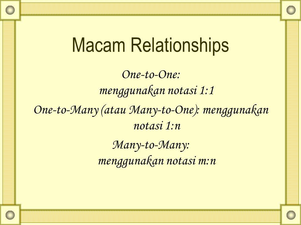 Macam Relationships One-to-One: menggunakan notasi 1:1 One-to-Many (atau Many-to-One): menggunakan notasi 1:n Many-to-Many: menggunakan notasi m:n