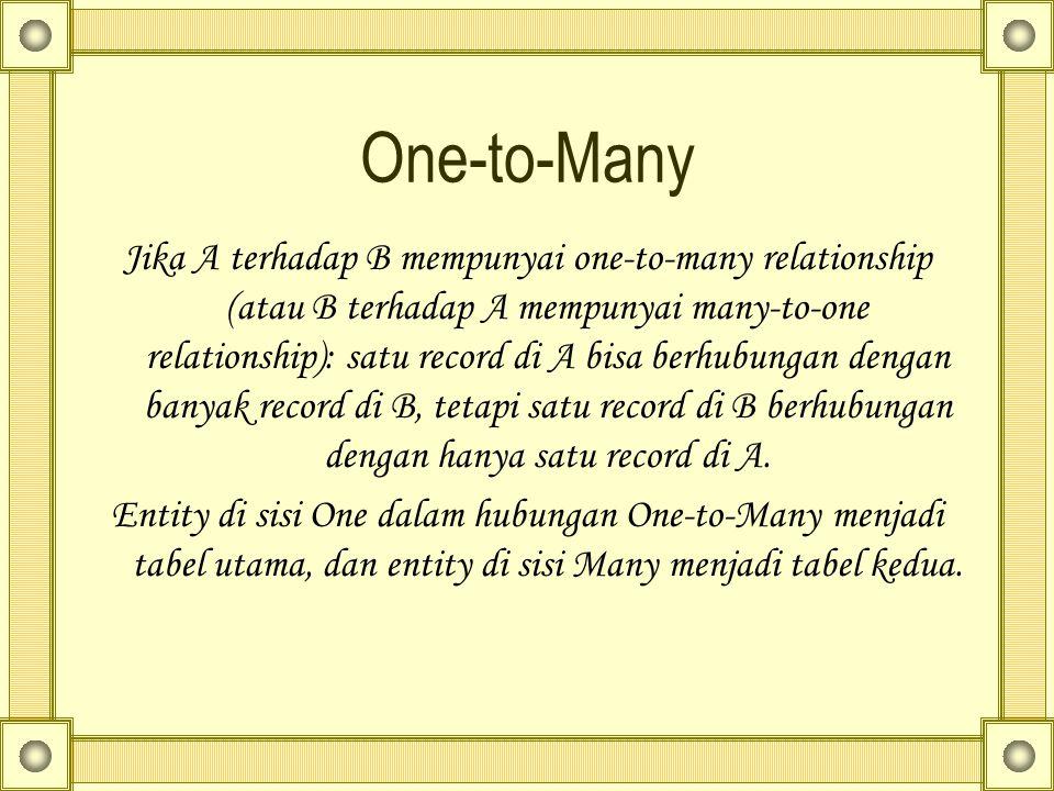 One-to-Many Jika A terhadap B mempunyai one-to-many relationship (atau B terhadap A mempunyai many-to-one relationship): satu record di A bisa berhubungan dengan banyak record di B, tetapi satu record di B berhubungan dengan hanya satu record di A.