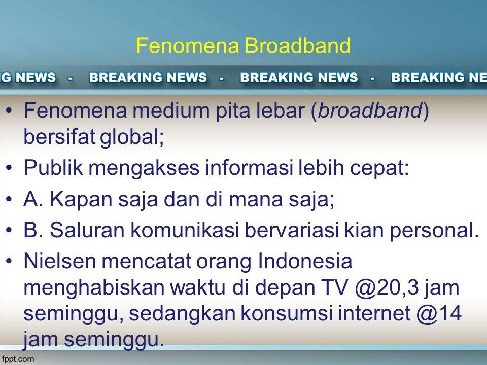 Fenomena Broadband Fenomena medium pita lebar (broadband) bersifat global; Publik mengakses informasi lebih cepat: A.