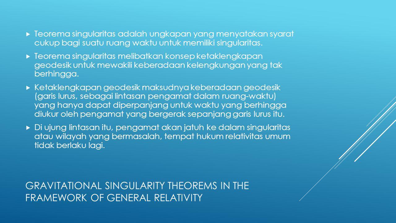  Teorema singularitas adalah ungkapan yang menyatakan syarat cukup bagi suatu ruang waktu untuk memiliki singularitas.  Teorema singularitas melibat