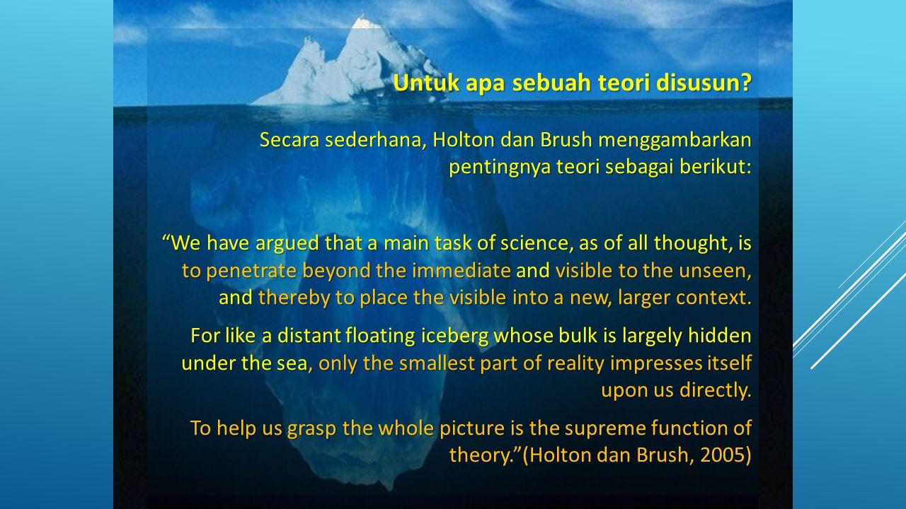 """Untuk apa sebuah teori disusun? Secara sederhana, Holton dan Brush menggambarkan pentingnya teori sebagai berikut: """"We have argued that a main task of"""