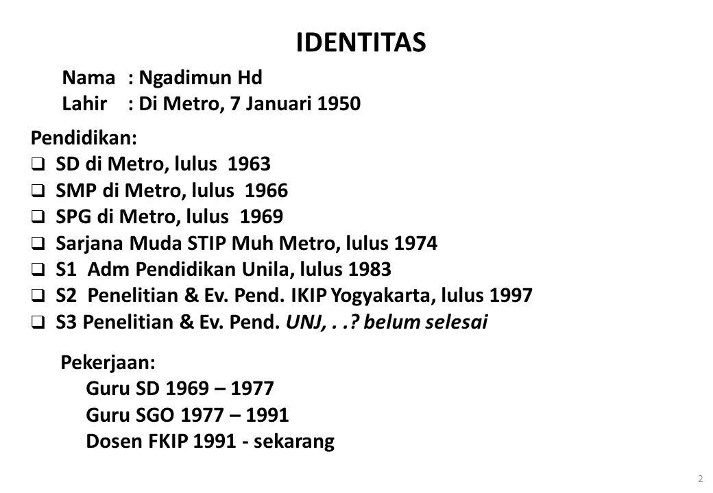 2 IDENTITAS Nama: Ngadimun Hd Lahir: Di Metro, 7 Januari 1950 Pendidikan:  SD di Metro, lulus 1963  SMP di Metro, lulus 1966  SPG di Metro, lulus 1