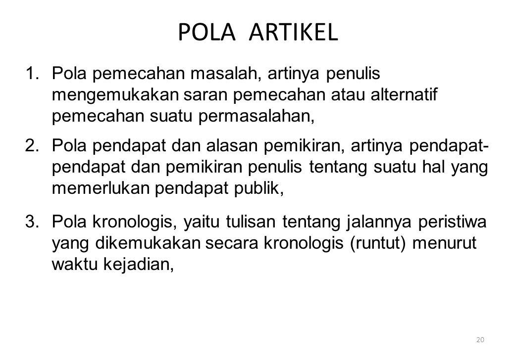 POLA ARTIKEL 1.Pola pemecahan masalah, artinya penulis mengemukakan saran pemecahan atau alternatif pemecahan suatu permasalahan, 2.Pola pendapat dan