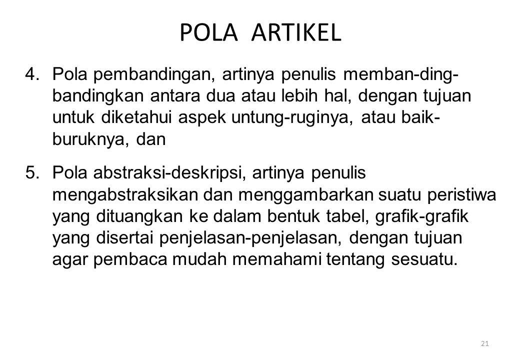 POLA ARTIKEL 4.Pola pembandingan, artinya penulis memban-ding- bandingkan antara dua atau lebih hal, dengan tujuan untuk diketahui aspek untung-ruginy