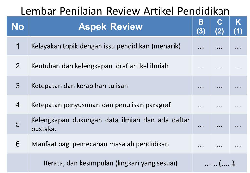 Lembar Penilaian Review Artikel Pendidikan NoAspek Review B (3) C (2) K (1) 1 Kelayakan topik dengan issu pendidikan (menarik)... 2 Keutuhan dan kelen