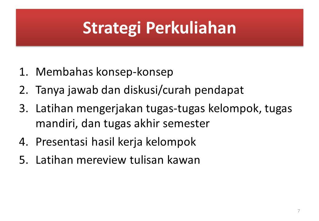Strategi Perkuliahan 1.Membahas konsep-konsep 2.Tanya jawab dan diskusi/curah pendapat 3.Latihan mengerjakan tugas-tugas kelompok, tugas mandiri, dan