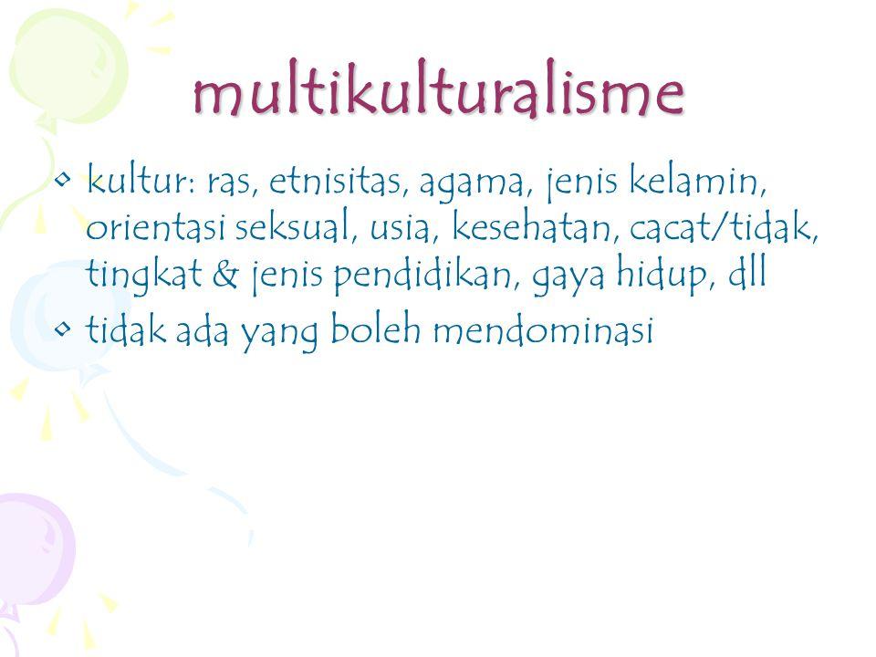 multikulturalisme kultur: ras, etnisitas, agama, jenis kelamin, orientasi seksual, usia, kesehatan, cacat/tidak, tingkat & jenis pendidikan, gaya hidup, dll tidak ada yang boleh mendominasi