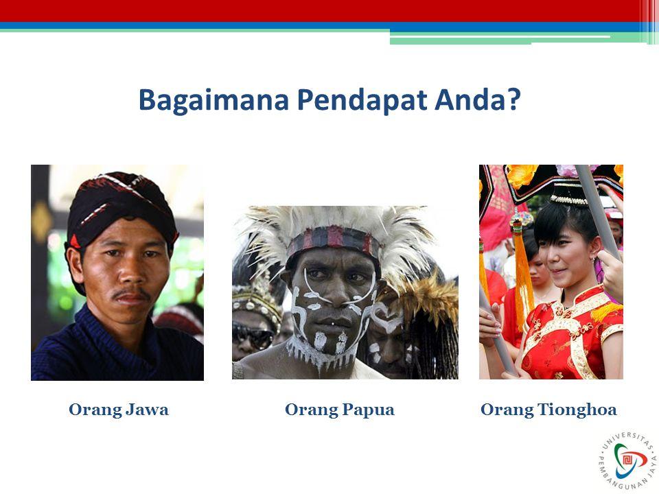 Bagaimana Pendapat Anda? Orang JawaOrang PapuaOrang Tionghoa