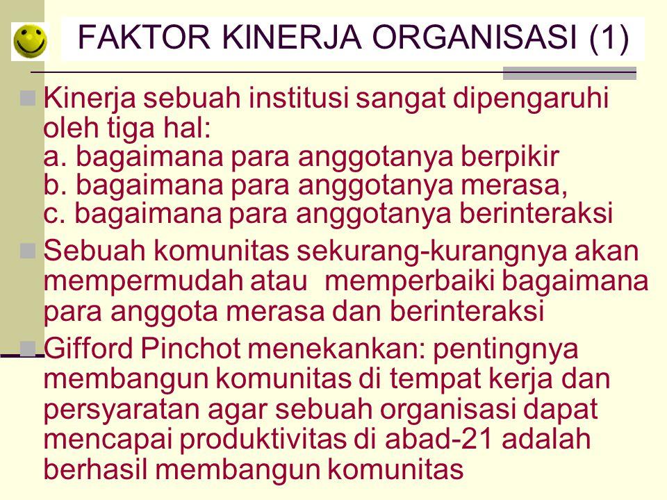 FAKTOR KINERJA ORGANISASI (1) Kinerja sebuah institusi sangat dipengaruhi oleh tiga hal: a. bagaimana para anggotanya berpikir b. bagaimana para anggo