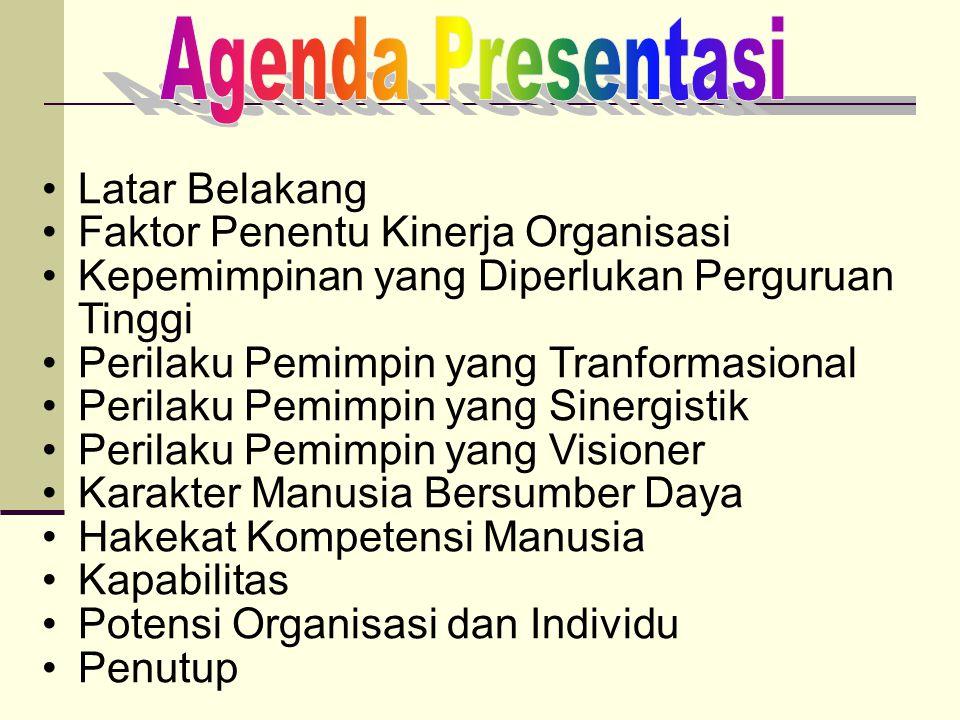 POTENSI ORGANISASI & INDIVIDU CERDAS ORGANISASI/ INDIVIDU CERDAS POTENSI SOSIAL POTENSI INTELEKTUAL POTENSI ETIKAL IKLIM KERJA TRANSFORMASIONAL