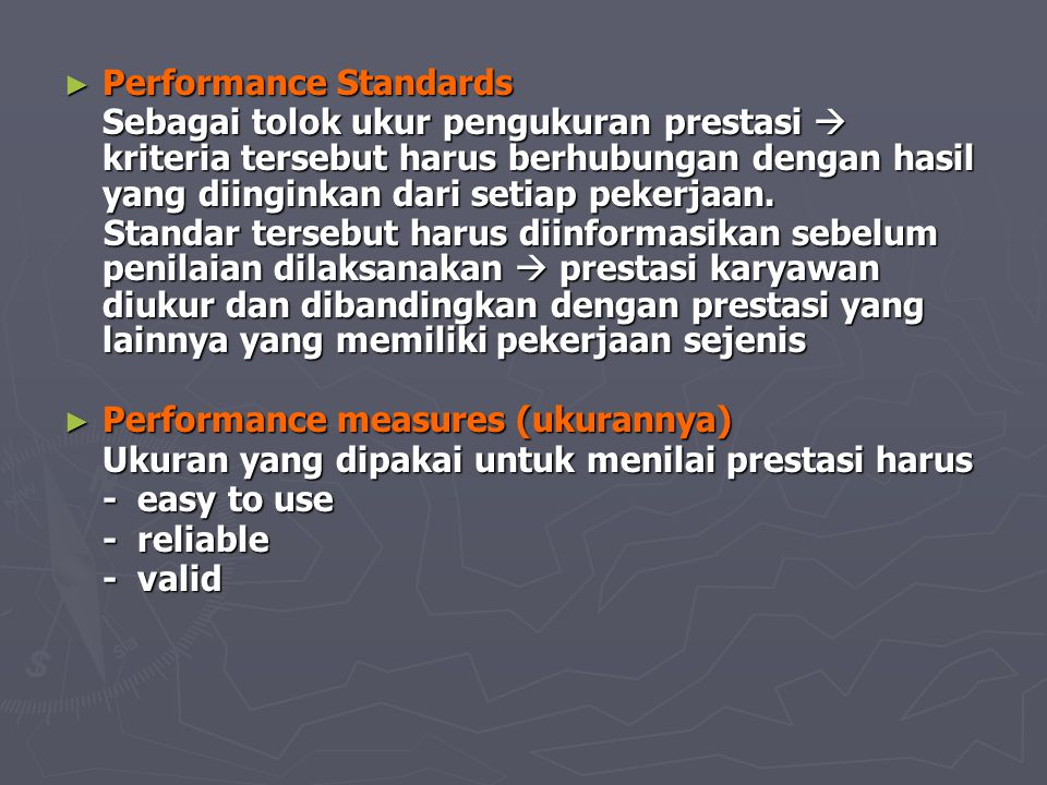 Human performance Performance appraisal Employee feedback Performance measures Performance related standards Personal decisions Employee records