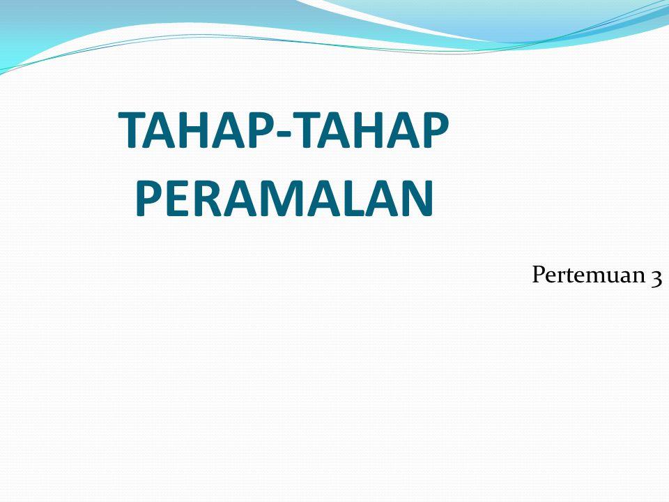 Contoh perhitungan koefisien otokorelasi derajat pertama: Waktu (t)Data asli (Y t ) Y dilag 1 periode (Y t-1 )(Y t - Ybar) (Y t-1 - Ybar) (Y t - Ybar) 2 (Y t - Ybar)(Y t-1 - Ybar) 1123 -19 361 2130123-12-19144228 3125130-17-12289204 4138125-4-171668 51451383-49-12 61421450300 7141142010 8146141416-4 9147146542520 1015714715522575 1115015781564120 12160150188324144 jumlah1704 0-181474843 mean (Ybar) =1704 / 12 =142 r 1 =843 / 1474 =0.5719