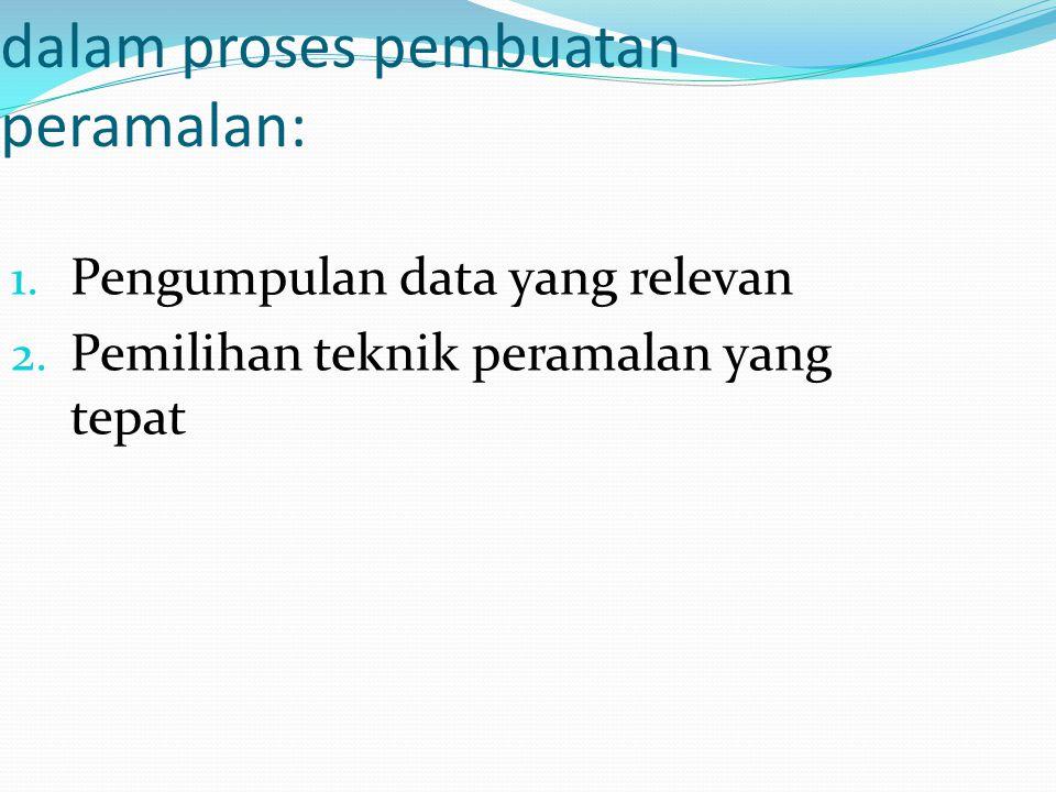 Dua hal yang harus diperhatikan dalam proses pembuatan peramalan: 1. Pengumpulan data yang relevan 2. Pemilihan teknik peramalan yang tepat