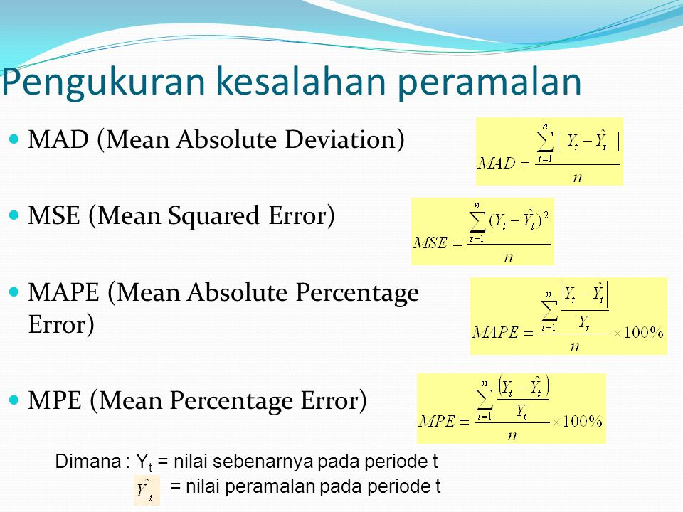 Pengukuran kesalahan peramalan MAD (Mean Absolute Deviation) MSE (Mean Squared Error) MAPE (Mean Absolute Percentage Error) MPE (Mean Percentage Error