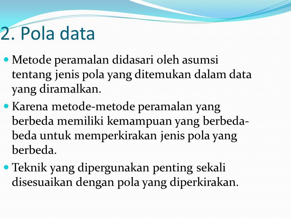 2. Pola data Metode peramalan didasari oleh asumsi tentang jenis pola yang ditemukan dalam data yang diramalkan. Karena metode-metode peramalan yang b