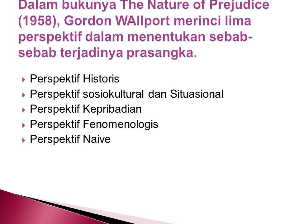 Perspektif Historis  Perspektif sosiokultural dan Situasional  Perspektif Kepribadian  Perspektif Fenomenologis  Perspektif Naive