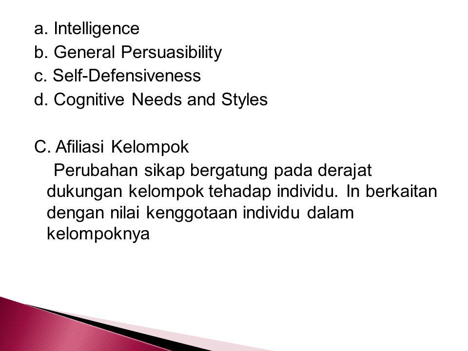 a. Intelligence b. General Persuasibility c. Self-Defensiveness d. Cognitive Needs and Styles C. Afiliasi Kelompok Perubahan sikap bergatung pada dera