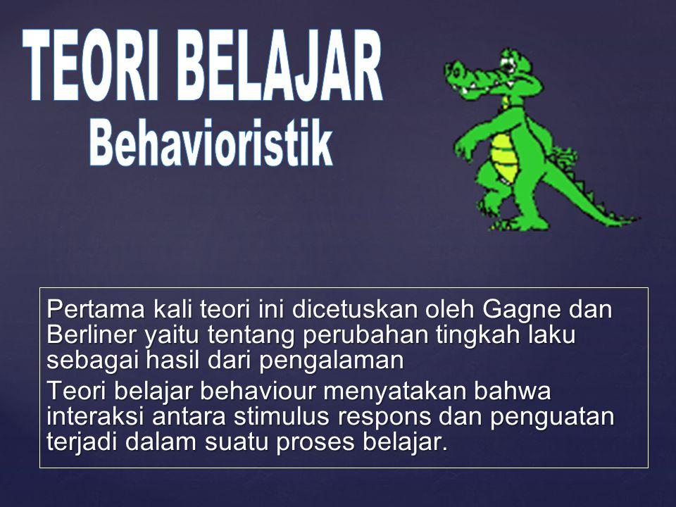 Pertama kali teori ini dicetuskan oleh Gagne dan Berliner yaitu tentang perubahan tingkah laku sebagai hasil dari pengalaman Teori belajar behaviour m