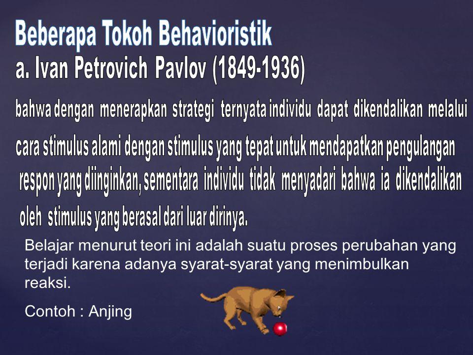 Belajar menurut teori ini adalah suatu proses perubahan yang terjadi karena adanya syarat-syarat yang menimbulkan reaksi. Contoh : Anjing