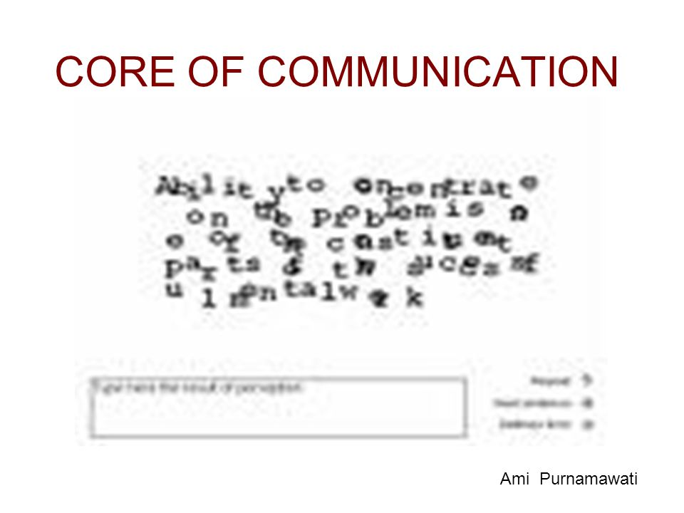 CORE OF COMMUNICATION Ami Purnamawati