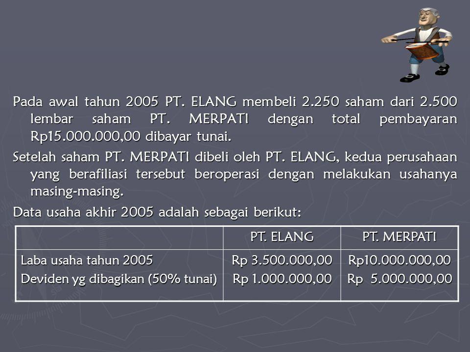 Pada awal tahun 2005 PT. ELANG membeli 2.250 saham dari 2.500 lembar saham PT. MERPATI dengan total pembayaran Rp15.000.000,00 dibayar tunai. Setelah