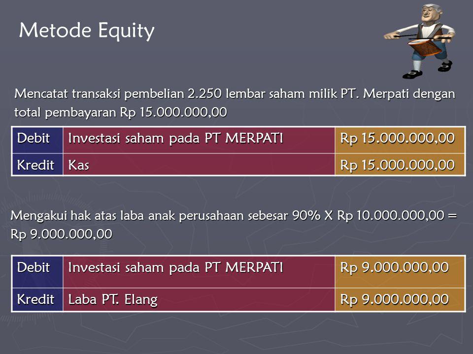 Mencatat transaksi pembelian 2.250 lembar saham milik PT. Merpati dengan total pembayaran Rp 15.000.000,00 Debit Investasi saham pada PT MERPATI Rp 9.