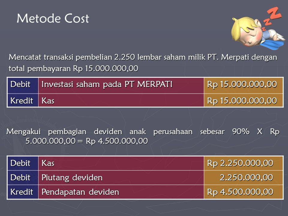 Mencatat transaksi pembelian 2.250 lembar saham milik PT. Merpati dengan total pembayaran Rp 15.000.000,00 DebitKas Rp 2.250.000,00 Debit Piutang devi