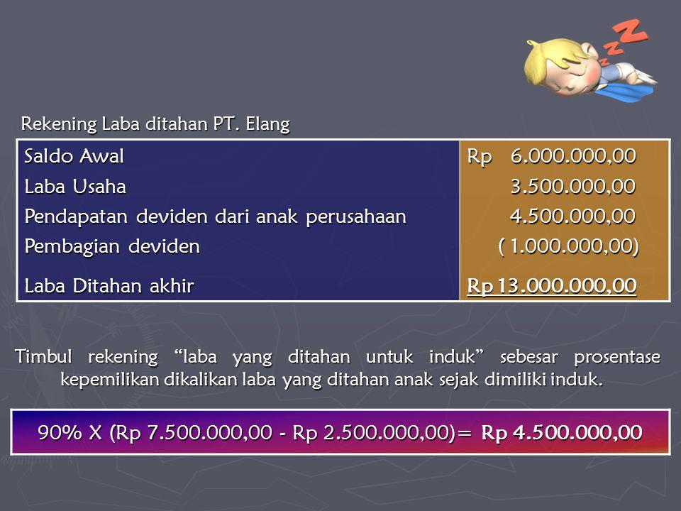 Rekening Laba ditahan PT. Elang 90% X (Rp 7.500.000,00 - Rp 2.500.000,00)= Rp 4.500.000,00 Saldo Awal Laba Usaha Pendapatan deviden dari anak perusaha