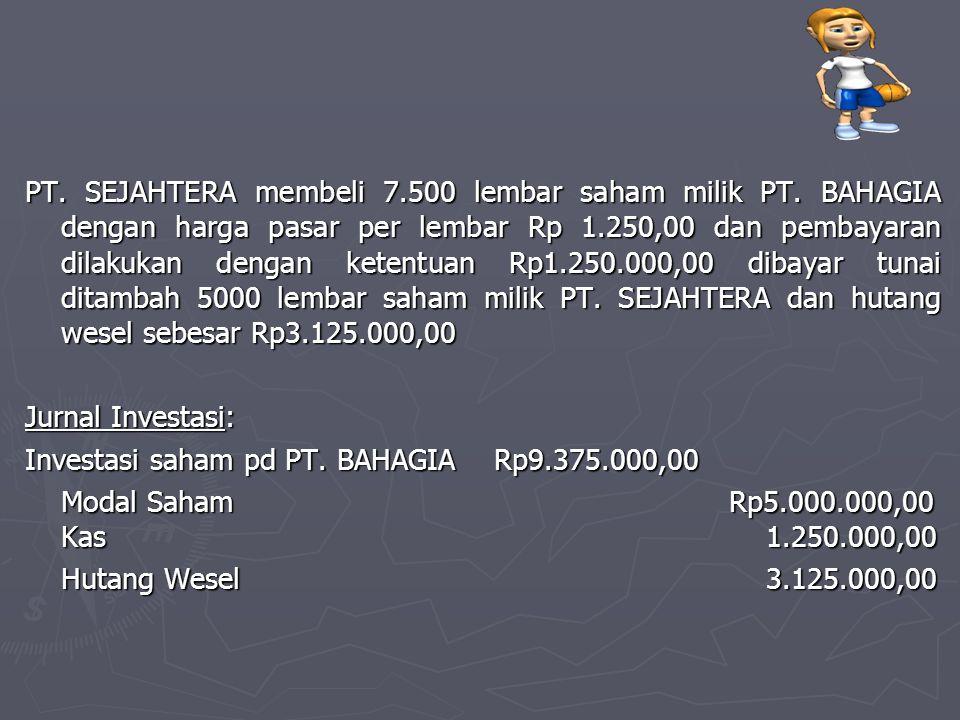PT. SEJAHTERA membeli 7.500 lembar saham milik PT. BAHAGIA dengan harga pasar per lembar Rp 1.250,00 dan pembayaran dilakukan dengan ketentuan Rp1.250