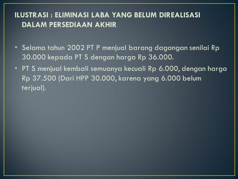 ILUSTRASI : ELIMINASI LABA YANG BELUM DIREALISASI DALAM PERSEDIAAN AKHIR Selama tahun 2002 PT P menjual barang dagangan senilai Rp 30.000 kepada PT S