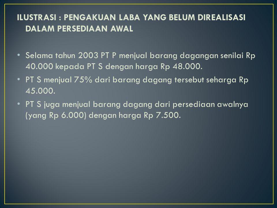 ILUSTRASI : PENGAKUAN LABA YANG BELUM DIREALISASI DALAM PERSEDIAAN AWAL Selama tahun 2003 PT P menjual barang dagangan senilai Rp 40.000 kepada PT S d