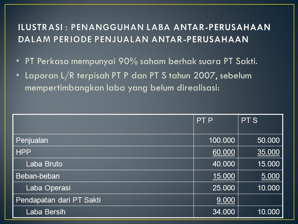 PT Perkasa mempunyai 90% saham berhak suara PT Sakti. Laporan L/R terpisah PT P dan PT S tahun 2007, sebelum mempertimbangkan laba yang belum direalis