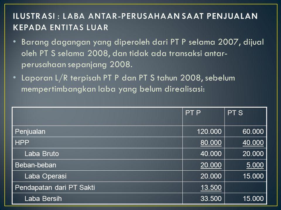 Barang dagangan yang diperoleh dari PT P selama 2007, dijual oleh PT S selama 2008, dan tidak ada transaksi antar- perusahaan sepanjang 2008. Laporan