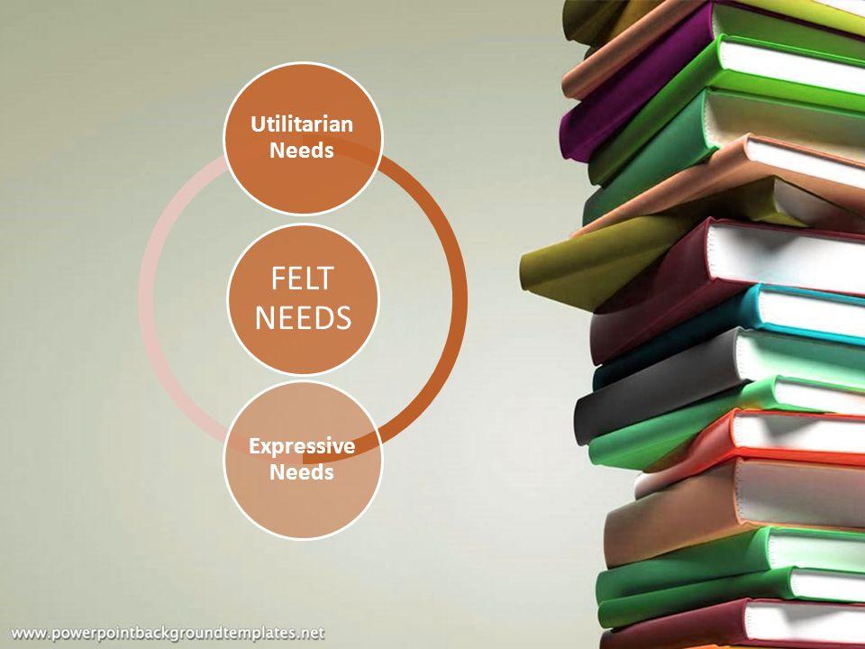 FELT NEEDS Utilitarian Needs Expressive Needs
