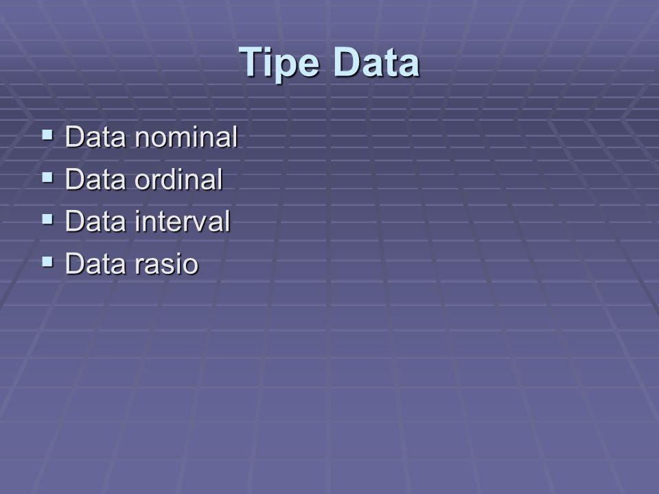 Data Nominal  Paling banyak digunakan dalam penelitian  Data yang paling lemah dari jenis data lainnya karena tidak ada hubungan jarak dan tidak ada asal mula hitungan  Data ini mengabaikan segala informasi mengenai berbagai tingkatan dari ciri-ciri yang diukurnya  Contoh data nominal: status perkawinan, jenis kelamin, afiliasi politik, dll