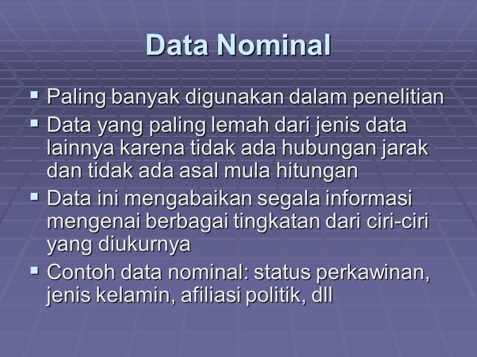 Data Ordinal  Mencakup ciri-ciri data nominal ditambah suatu urutan  Dari kelompok-kelompok yang telah ditetapkan, kemudian diberi urutan:  Lebih dari ……  Kurang dari …….