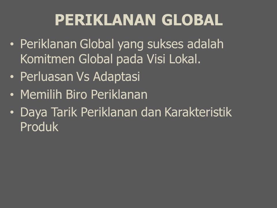 PERIKLANAN GLOBAL Periklanan Global yang sukses adalah Komitmen Global pada Visi Lokal. Perluasan Vs Adaptasi Memilih Biro Periklanan Daya Tarik Perik