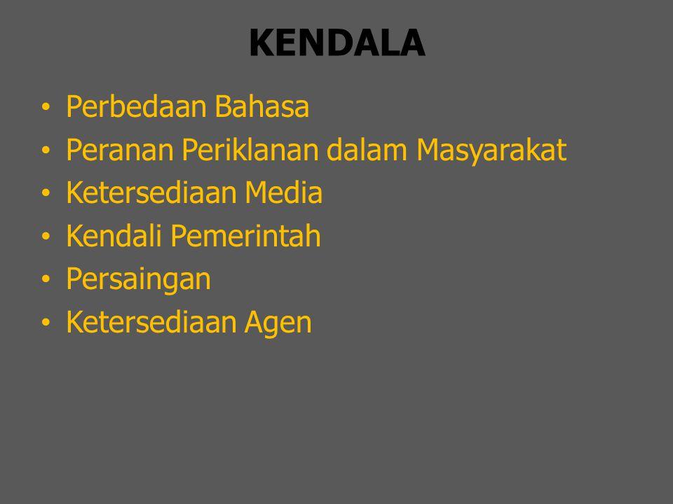 KENDALA Perbedaan Bahasa Peranan Periklanan dalam Masyarakat Ketersediaan Media Kendali Pemerintah Persaingan Ketersediaan Agen