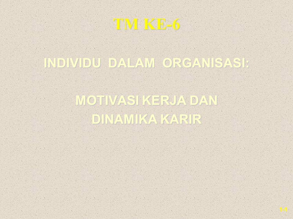 1-1 TM KE-6 INDIVIDU DALAM ORGANISASI: MOTIVASI KERJA DAN DINAMIKA KARIR