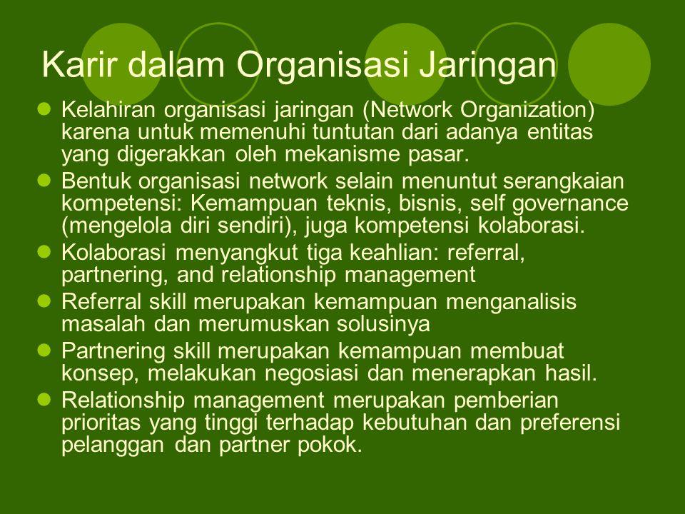 Karir dalam Organisasi Jaringan Kelahiran organisasi jaringan (Network Organization) karena untuk memenuhi tuntutan dari adanya entitas yang digerakka