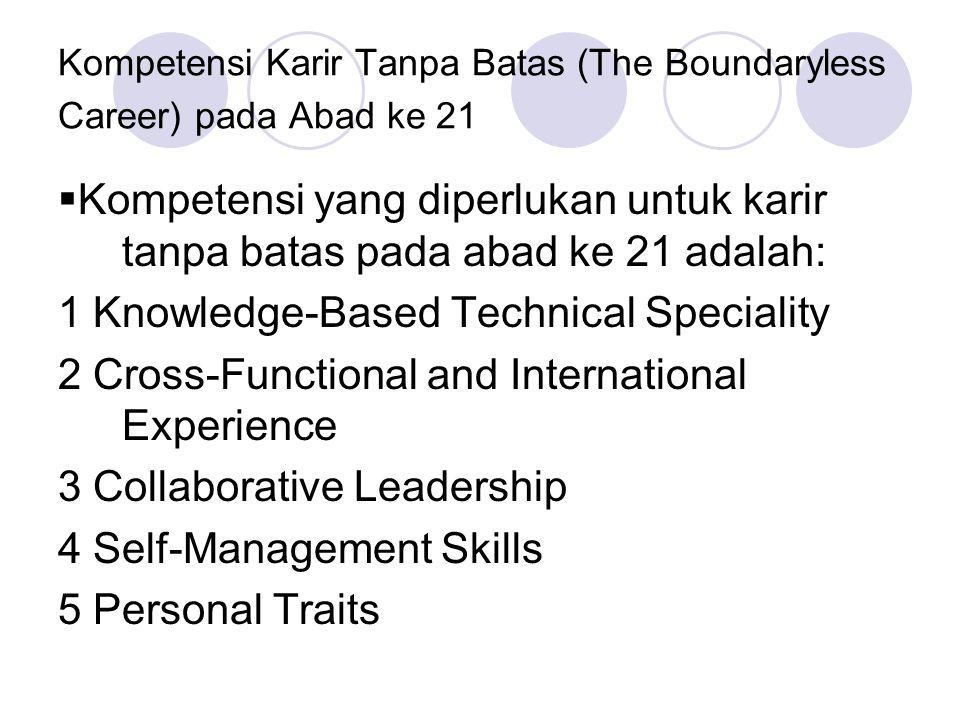 Kompetensi Karir Tanpa Batas (The Boundaryless Career) pada Abad ke 21  Kompetensi yang diperlukan untuk karir tanpa batas pada abad ke 21 adalah: 1