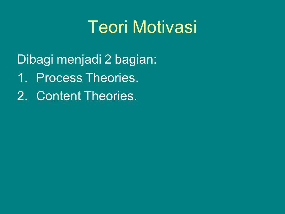 Teori Motivasi Dibagi menjadi 2 bagian: 1.Process Theories. 2.Content Theories.