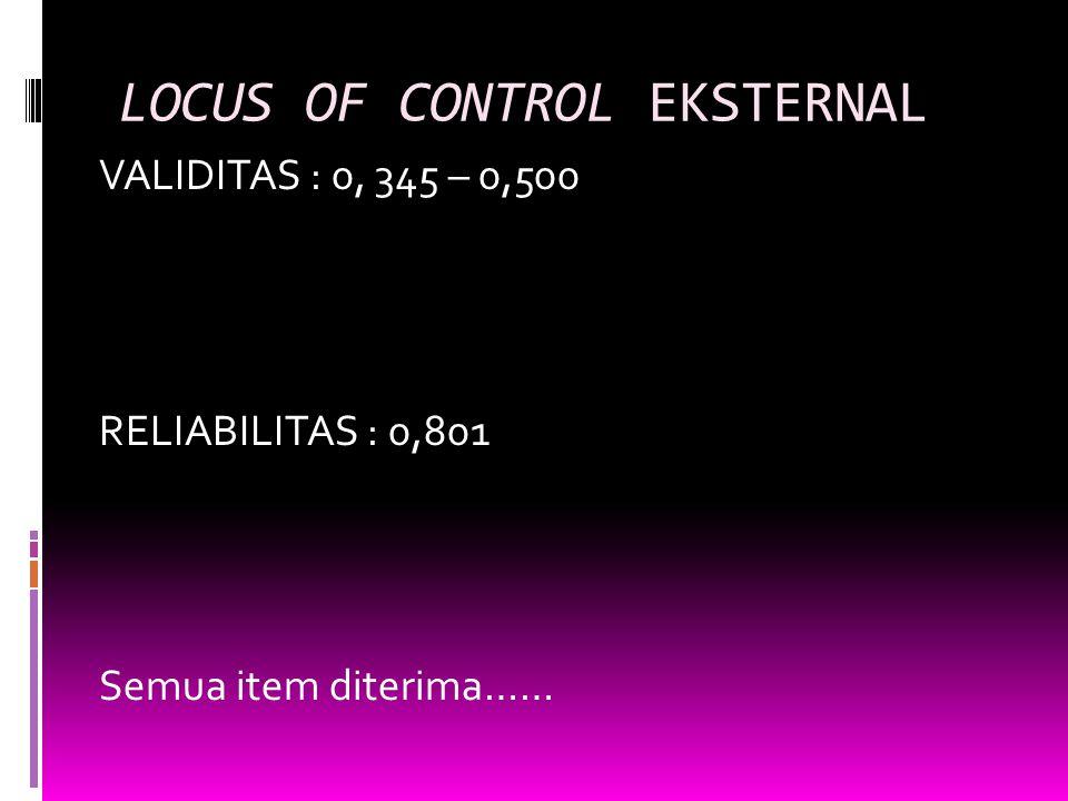 LOCUS OF CONTROL EKSTERNAL VALIDITAS : 0, 345 – 0,500 RELIABILITAS : 0,801 Semua item diterima……