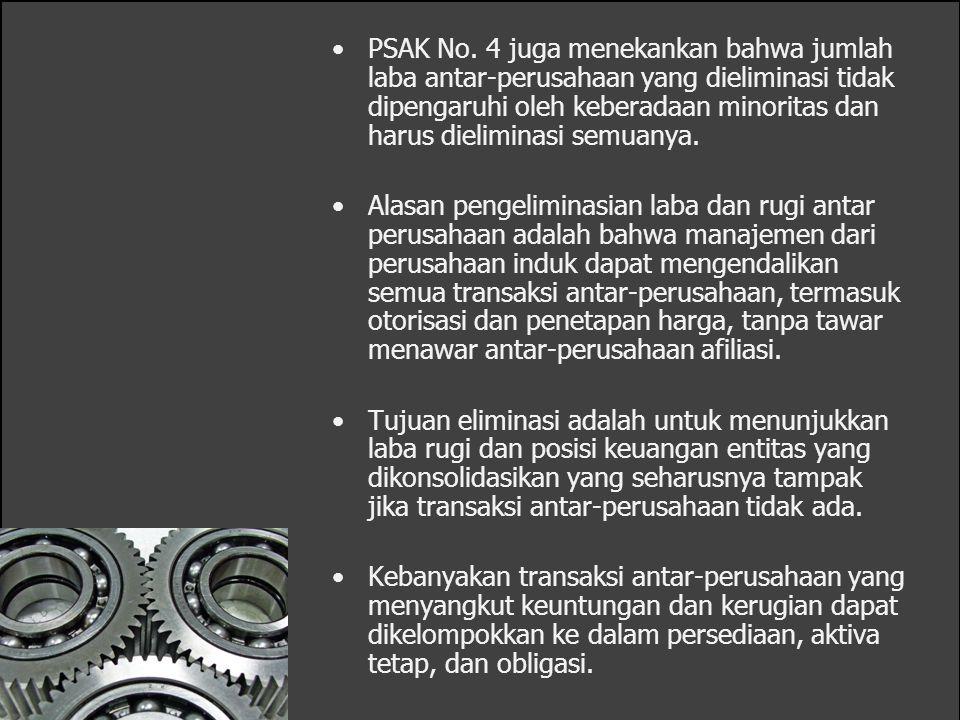 PSAK No. 4 juga menekankan bahwa jumlah laba antar-perusahaan yang dieliminasi tidak dipengaruhi oleh keberadaan minoritas dan harus dieliminasi semua