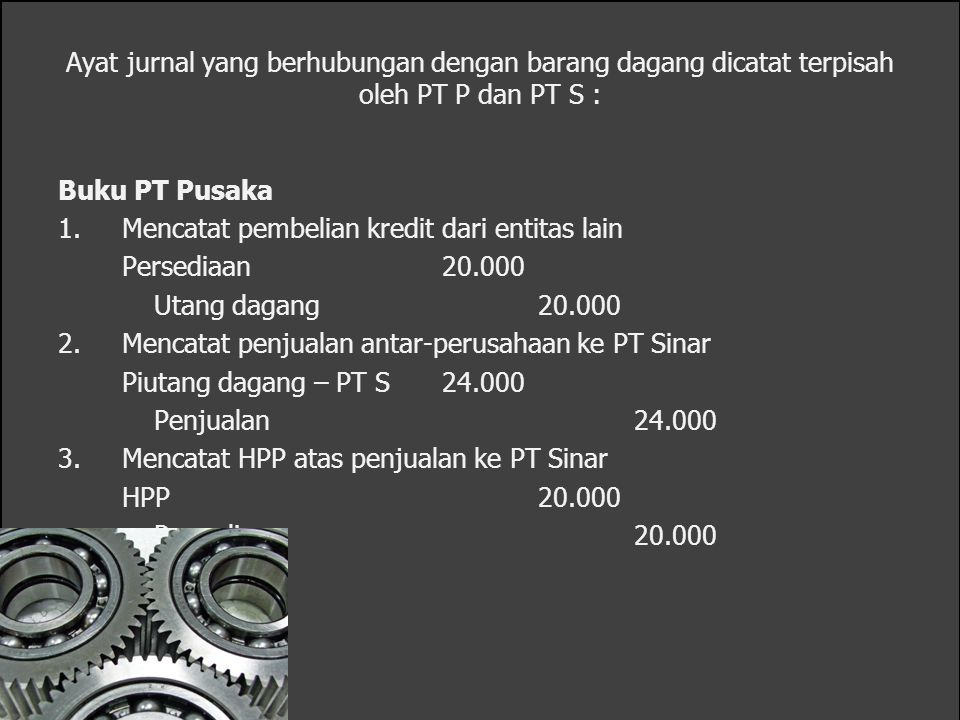 Ayat jurnal yang berhubungan dengan barang dagang dicatat terpisah oleh PT P dan PT S : Buku PT Pusaka 1.Mencatat pembelian kredit dari entitas lain P