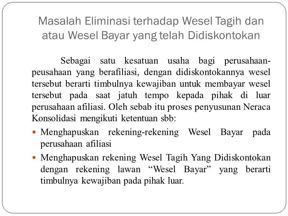 Masalah Eliminasi terhadap Wesel Tagih dan atau Wesel Bayar yang telah Didiskontokan Sebagai satu kesatuan usaha bagi perusahaan- peusahaan yang beraf