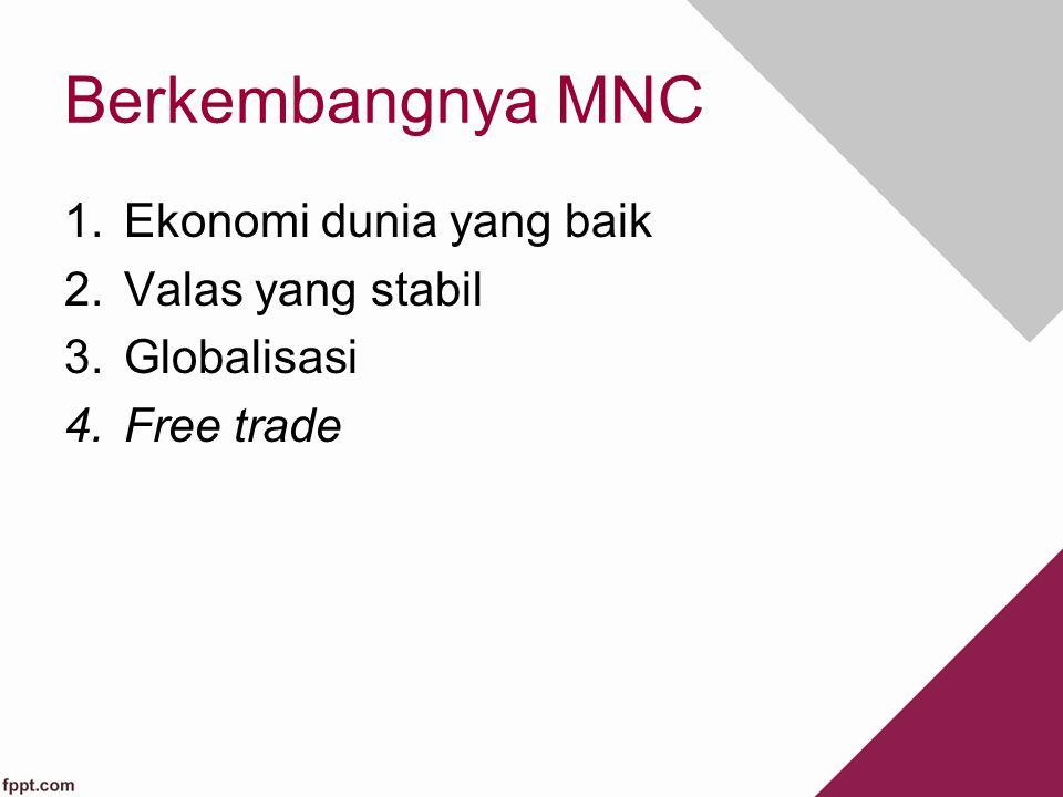 Berkembangnya MNC 1.Ekonomi dunia yang baik 2.Valas yang stabil 3.Globalisasi 4.Free trade