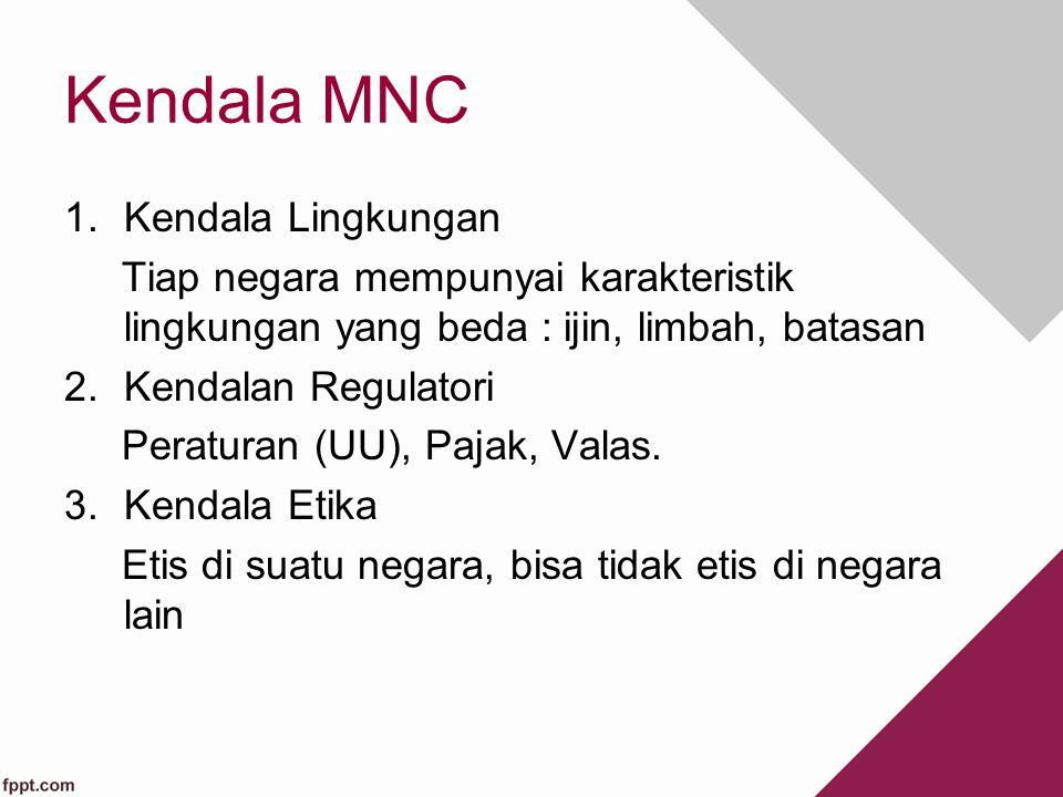 Kendala MNC 1.Kendala Lingkungan Tiap negara mempunyai karakteristik lingkungan yang beda : ijin, limbah, batasan 2.Kendalan Regulatori Peraturan (UU)